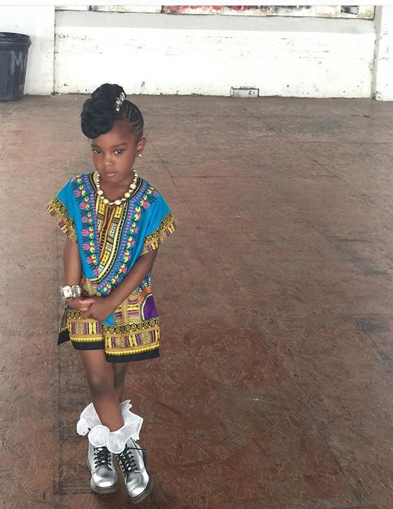 Light blue unisex kids dashiki
