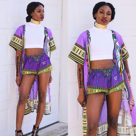 Purple dashiki shorts