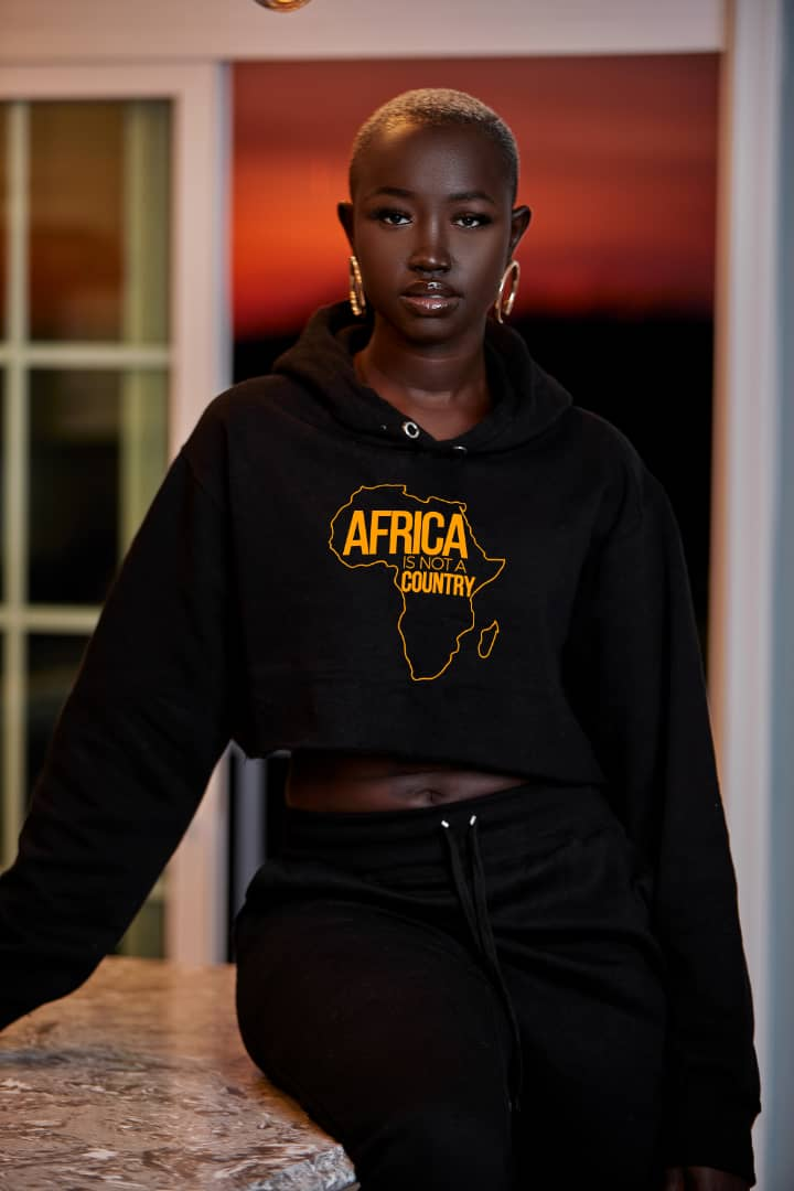 Africa is not a country croptop (black)