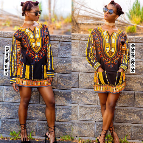 Black and gold long sleeve dashiki (plus size included)