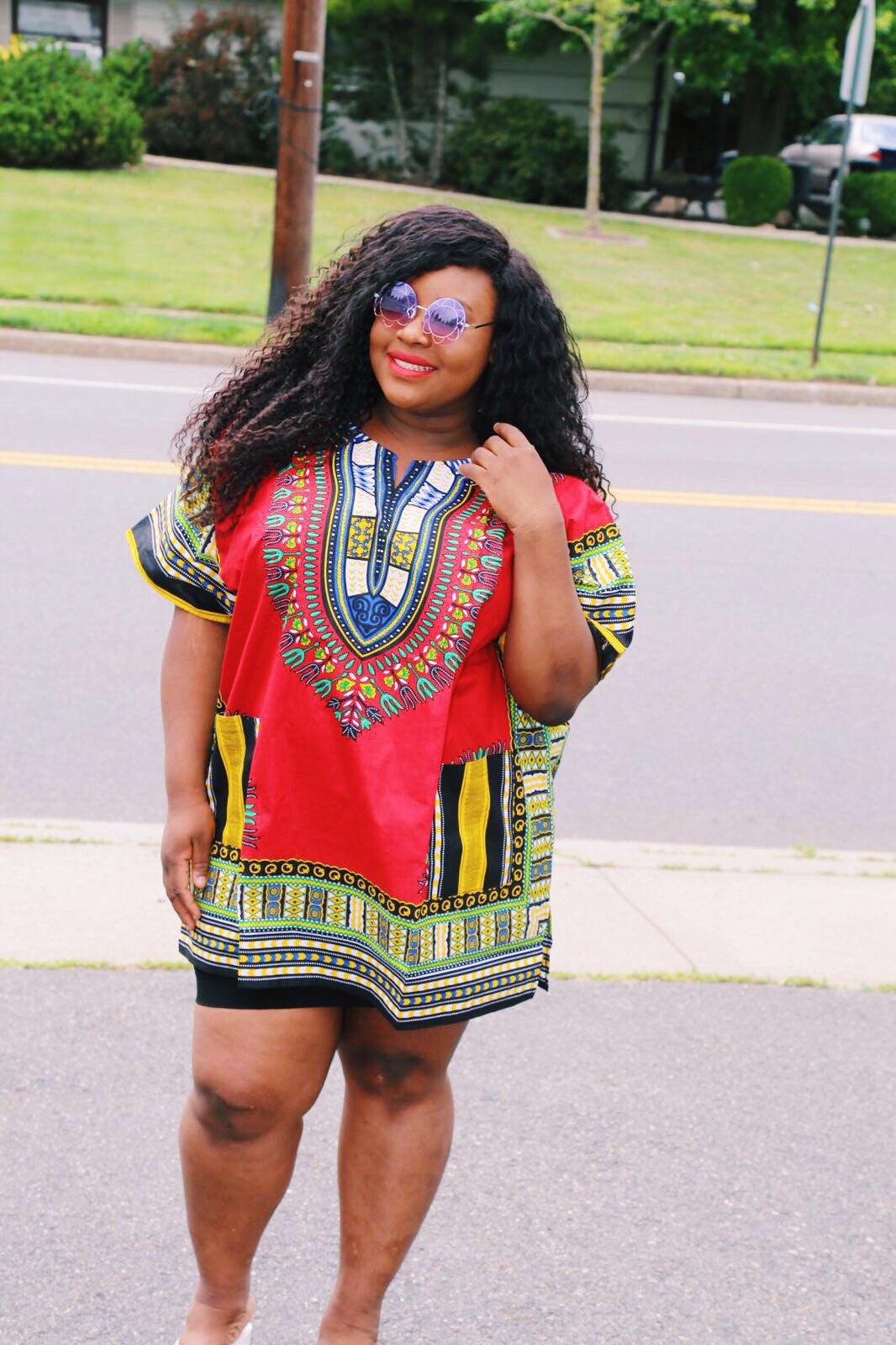 Red plus size dashiki (unisex)