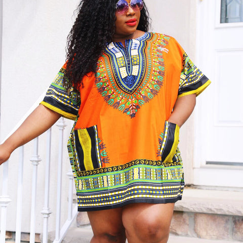 Orange Plus size dashiki (unisex)""