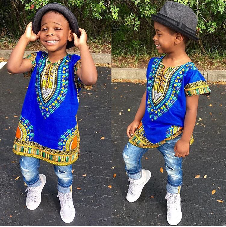 Blue unisex kids dashiki