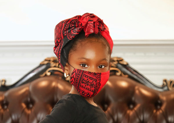 red kids dashiki headwrap