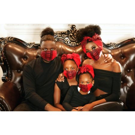 red dashiki kids face mask
