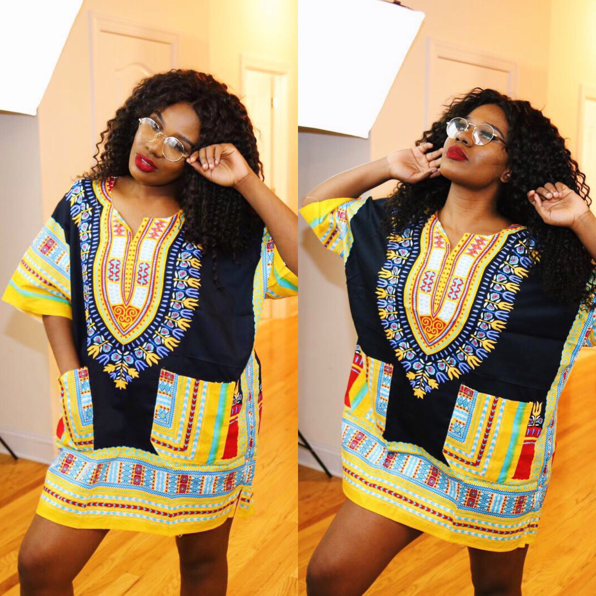 "Black and Yellow"" dashiki (UNISEX)"
