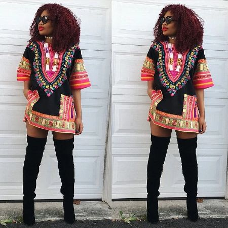 Fushia and Black Dashiki (UNISEX)