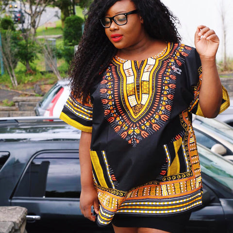 Black and Gold Plus Size dashiki (unisex)