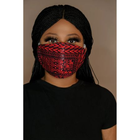 Red dashiki face mask (unisex)
