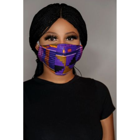 Kente mauve face mask (unisex)