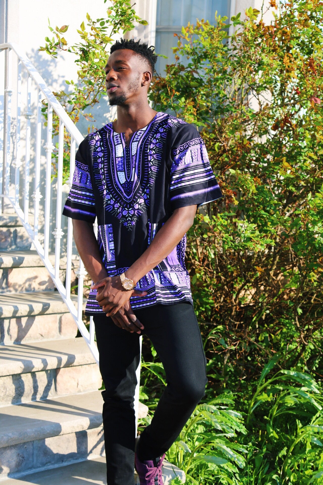 "Black and Purple"" dashiki (UNISEX)"