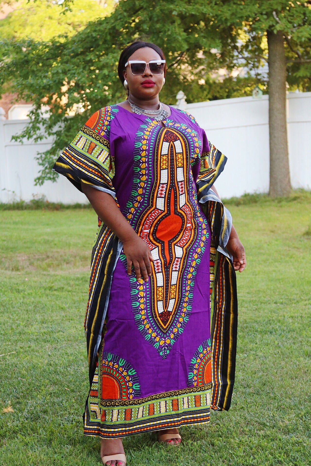 Purple plus size kaftan