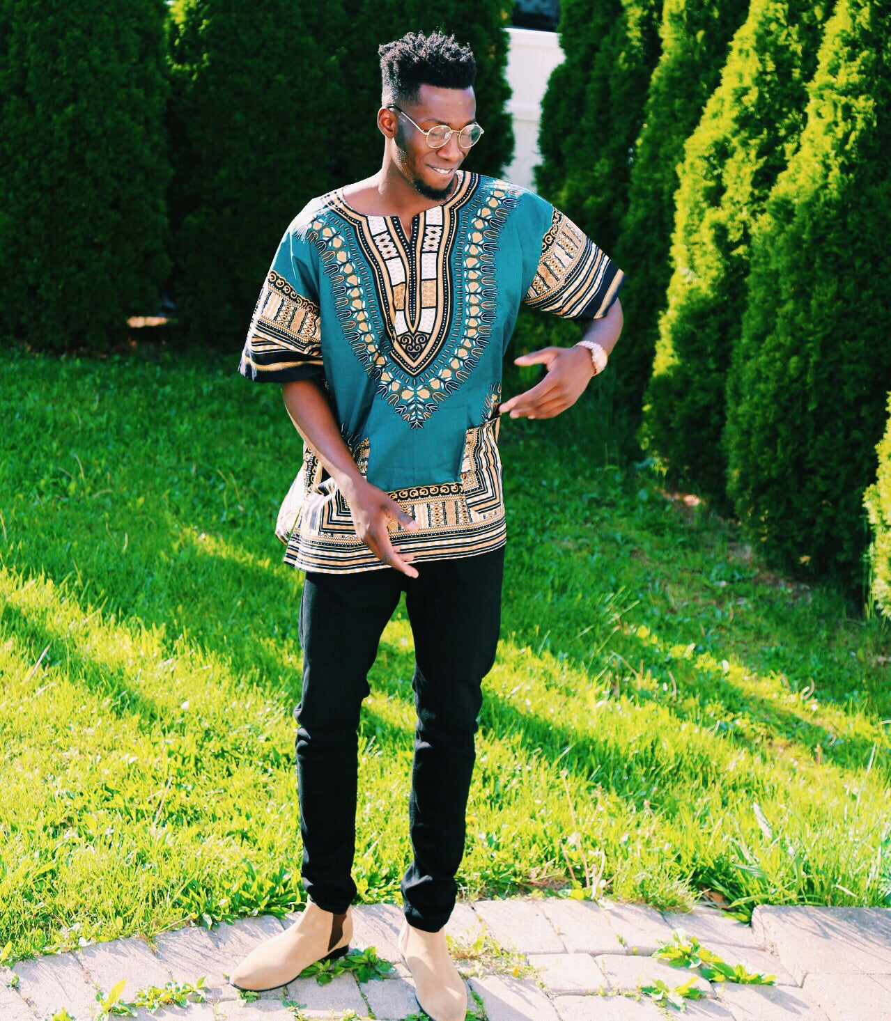 "Olive and Brown unisex dashiki"" (UNISEX)"