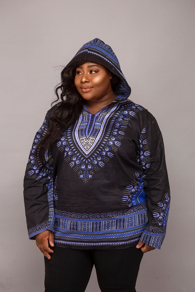 Black and blue hoodie plus size (unisex)