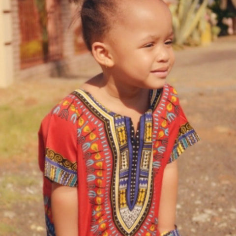 Red unisex kids Dashiki