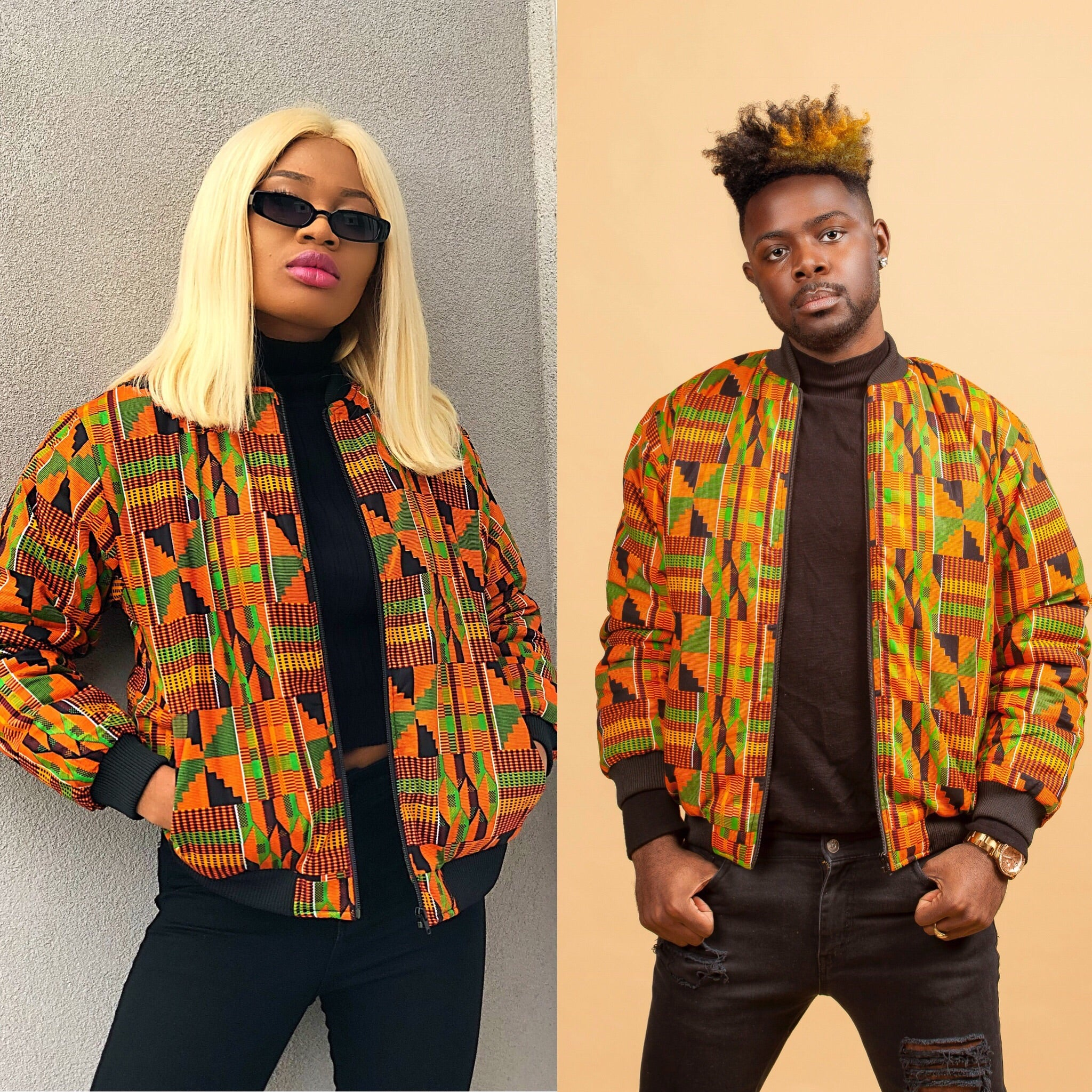 Kente Rew bomber jacket