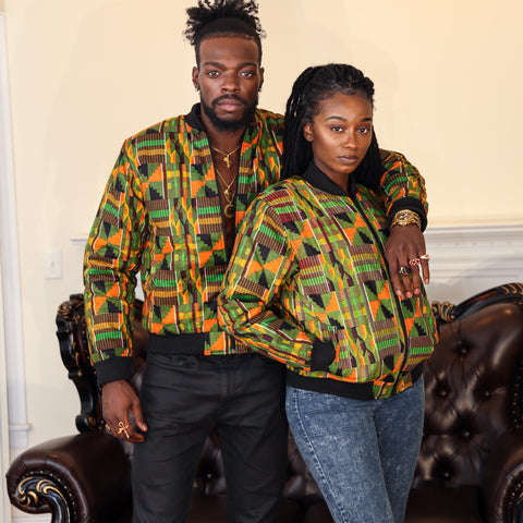 Kente verde bomber jacket