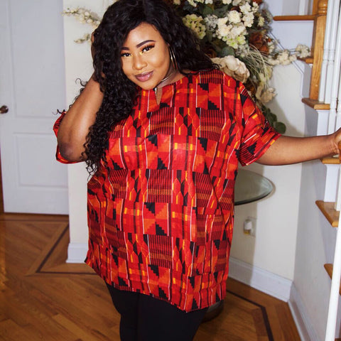 Kente Flames shirt PLUS SIZE