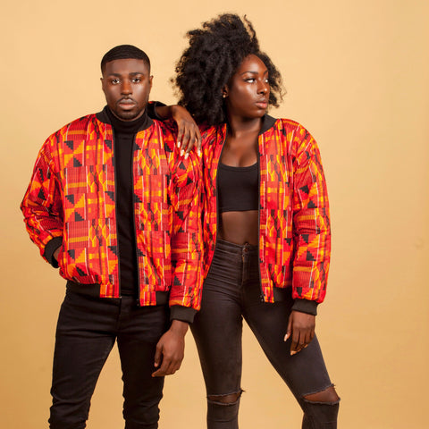 Kente Flames bomber jacket