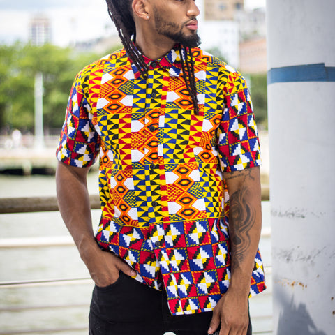 Cali African Print Men's Shirt - Men's African Clothing - Dashikipride