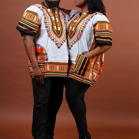 White and orange dashiki plus size