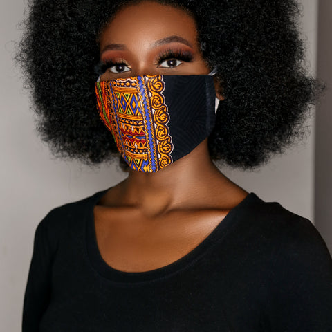 Black dashiki face mask (unisex)