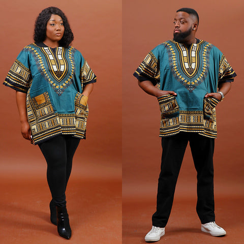 Olive and brown dashiki plus size