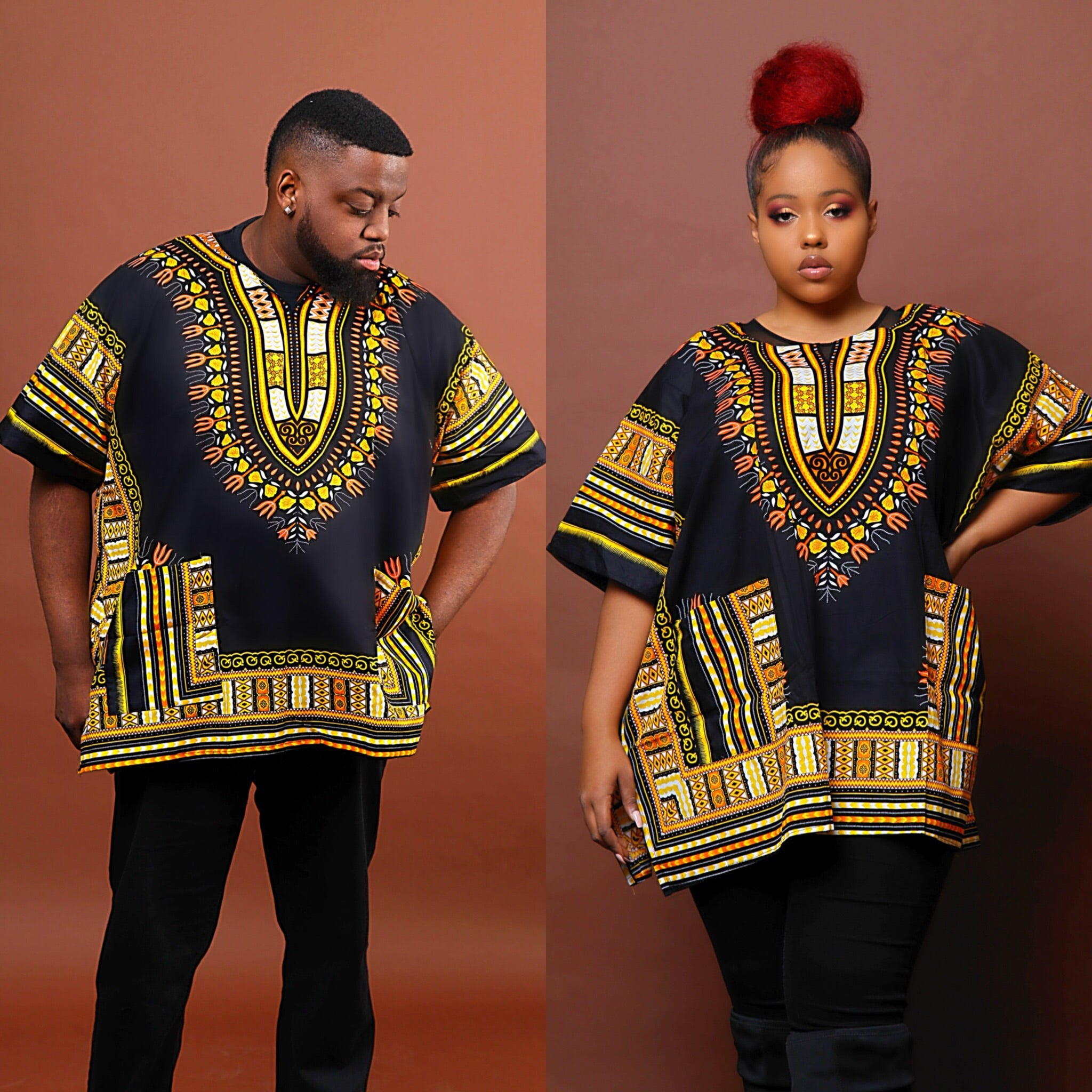 Black and gold dashiki plus size