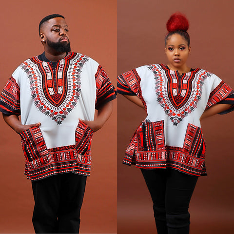 Red and white dashiki plus size