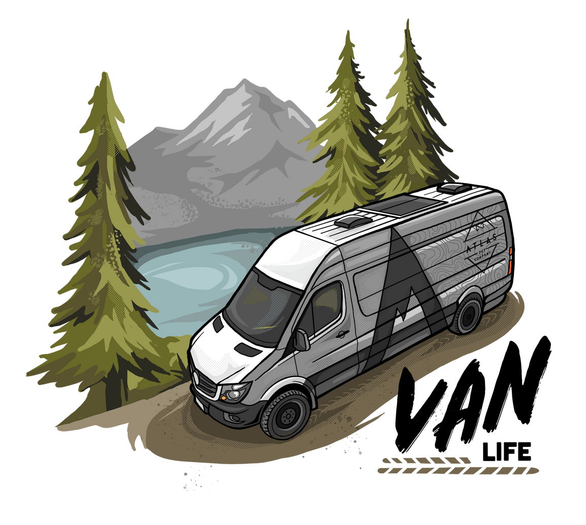 atlas pet company about us header illustration with vanlife and atlas pet company van driving through the wilderness