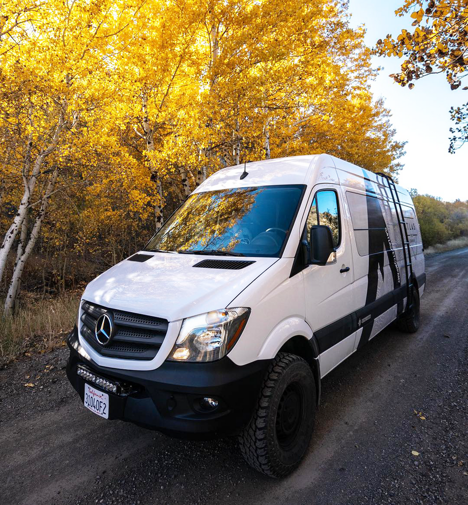 atlas pet company vanlife in sun valley in 4x4 sprinter driving down offroad backcountry road living vanlife
