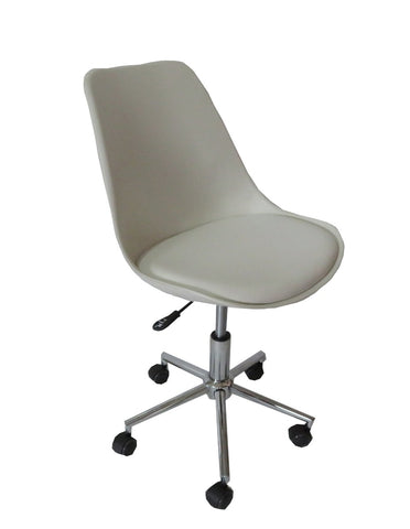 Mora white padded seat gas lift office chair