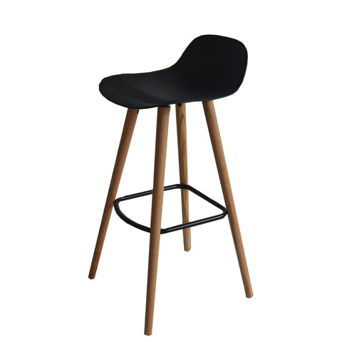Set of 2 Penelope Black barstools with solid Red Oak legs