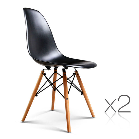 Artiss Set of 2 Retro Beech Wood Dining Chair - Black