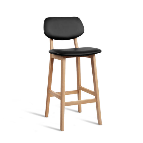 Artiss Set of 2 PU Leather Ramsey Bar Stools - Black