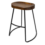 Set of 2 Steel Barstools with Wooden Seat 65cm