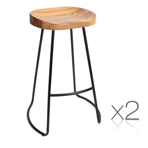 Set of 2 Steel Barstools with Wooden Seat Natural