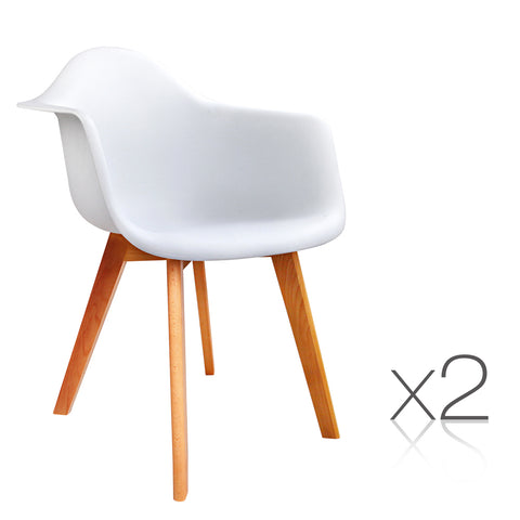 Set of 2 Replica Eames Armchairs White