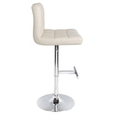 Set of 2 PU Leather Kitchen Bar Stool Beige