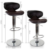 Set of 2 PU Leather Kitchen Bar Stool Chocolate