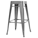 Set of 2 Steel Kitchen Bar Stools 76cm Gloss Finish