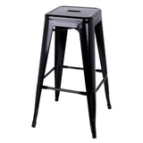 Set of 2 Steel Kitchen Bar Stools 76cm Black