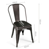 Set of 4 Metal Dining Chairs - Gunmetal