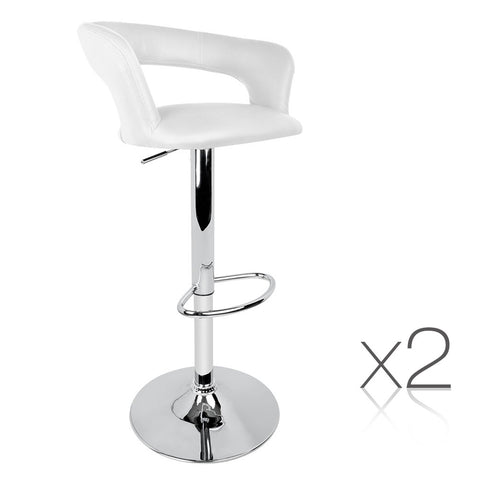 Artiss Set of 2 PU Leather Bar Stools - White