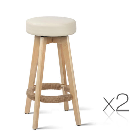 Artiss Set of 2 PU Leather Round Bar Stool - Beige
