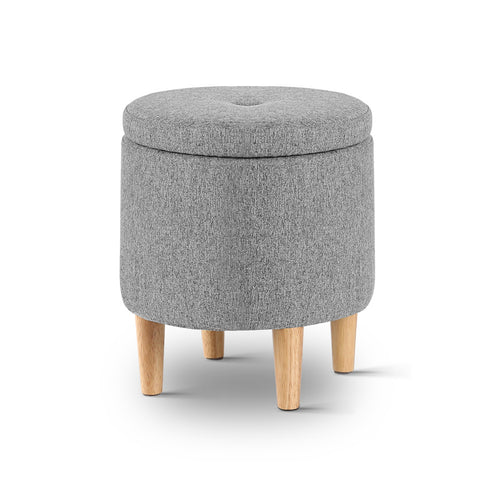 Artiss Storage Ottoman Footstool Foot Rest Stool Fabric Wood Grey
