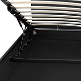 PU Leather Gas Lift Bedframe Black Queen