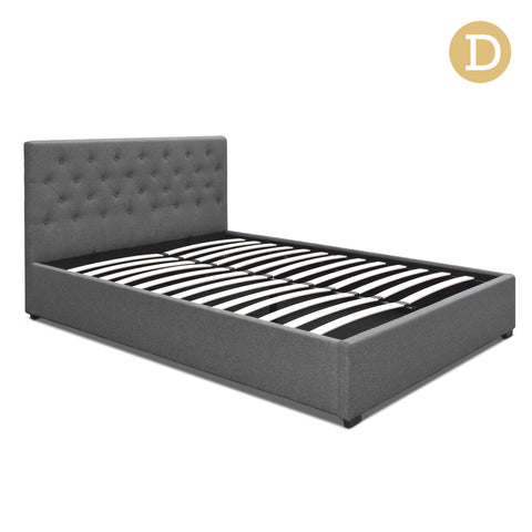 Double Size Gas Lift Fabric Bed Frame with Headboard