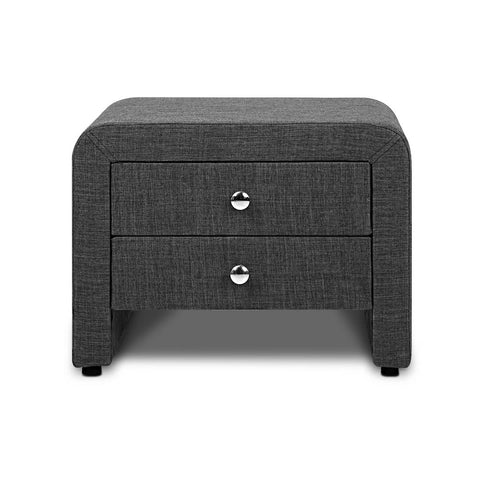 Artiss Fabric Bedside Table with 2 Drawers - Charcoal