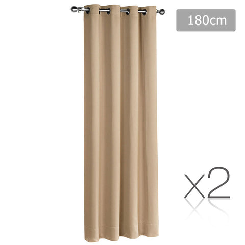 Set of 2 ArtQueen 3 Pass Eyelet Blockout Curtain Latte 180cm